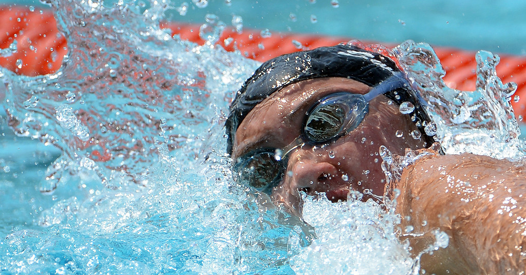 . Glendora\'s Catherine Sanchez competes in the 200 freestyle yard race during the Division 2 CIF Southern Section Swimming Championships in the Riverside Aquatics Complex at Riverside City College in Riverside, Calif., on Saturday, May 17, 2014.  (Keith Birmingham/Pasadena Star-News)