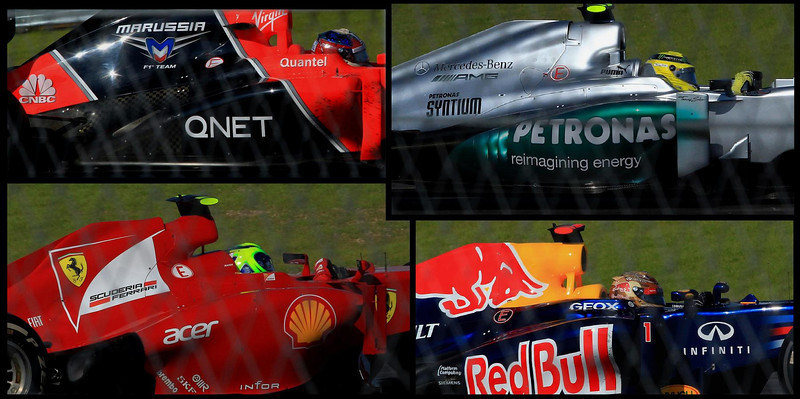 Composite of car cockpits and cowls entering turn one. Clockwise from top left, Timo Glock in the Marussia car, Nico Rosberg (Mercedes), Sebastian Vettel (Red Bull), Philip Massa in the red Ferrari.