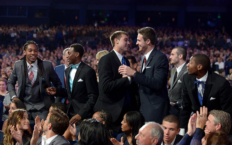. Members of the Florida Gulf Coast University men\'s basketball team are seen in the audience before accepting the award for best upset at the ESPY Awards on Wednesday, July 17, 2013, at the Nokia Theater in Los Angeles. ( (Photo by Jordan Strauss/Invision/AP)