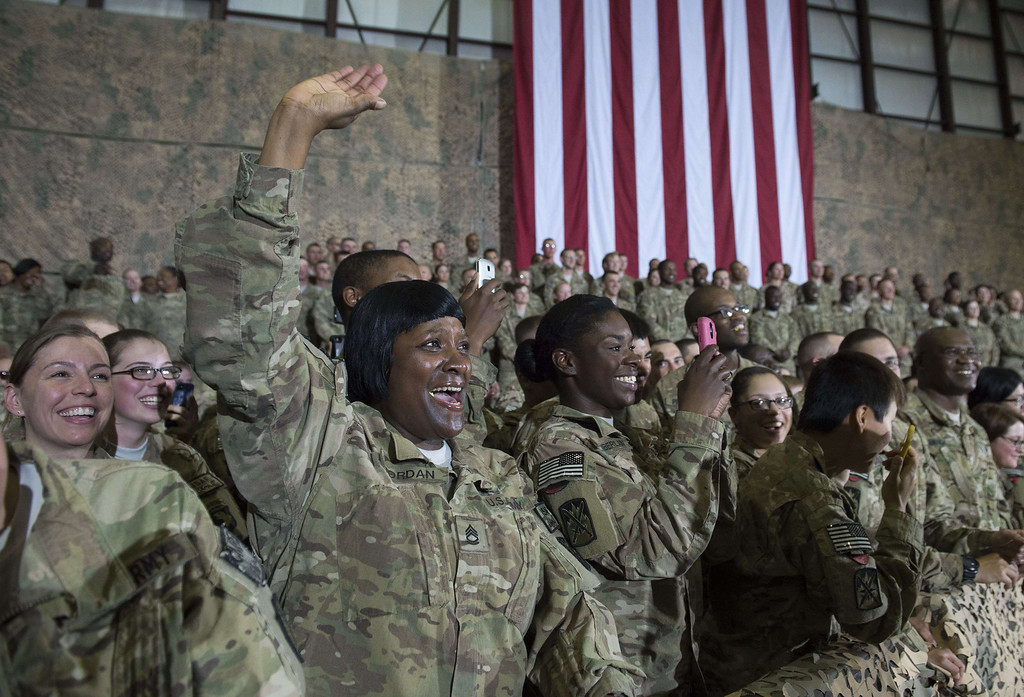 . US troops cheer President Barack Obama during his surprise visit to Bagram Air Field, north of Kabul, in Afghanistan, May 25, 2014, prior to the Memorial Day holiday.    SAUL LOEB/AFP/Getty Images