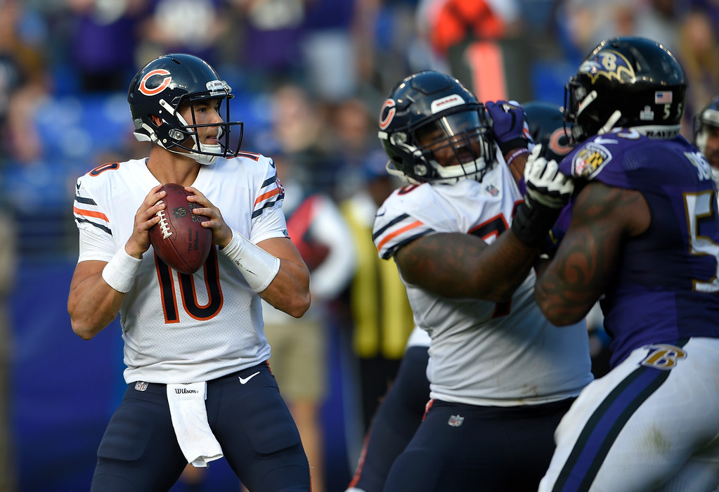 . Chicago Bears quarterback Mitchell Trubisky looks for a receiver in an overtime period of an NFL football game against the Baltimore Ravens, Sunday, Oct. 15, 2017, in Baltimore. (AP Photo/Nick Wass)