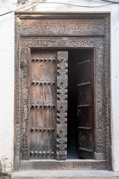 Carved wooden door in Stone Town
