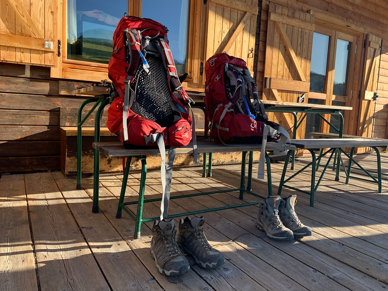 Hiking Boots and backpacks