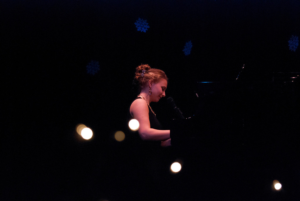 . Kayla Rice/Reformer Marissa Semenovich plays the piano and sings for the talent portion of the 2014 Brattleboro Winter Carnival\'s Queen\'s Pageant on Friday night.