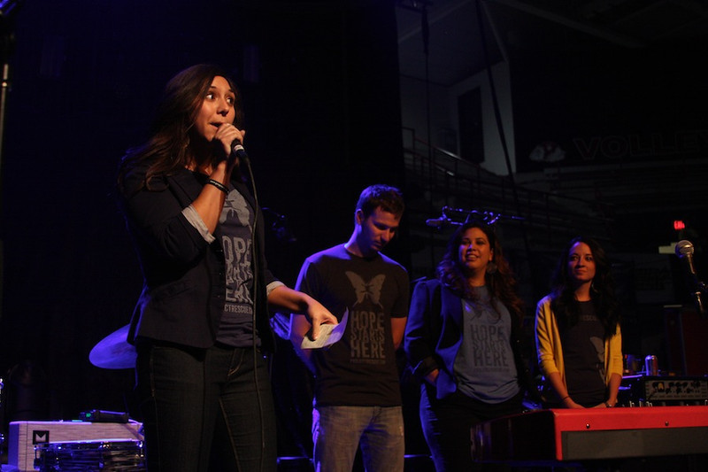 Project Rescue explains their cause at the Needtobreathe concert on April, 28th.