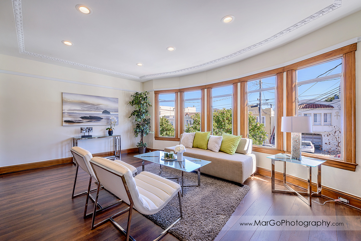 San Francisco house living room with panoramic windows - real estate photography