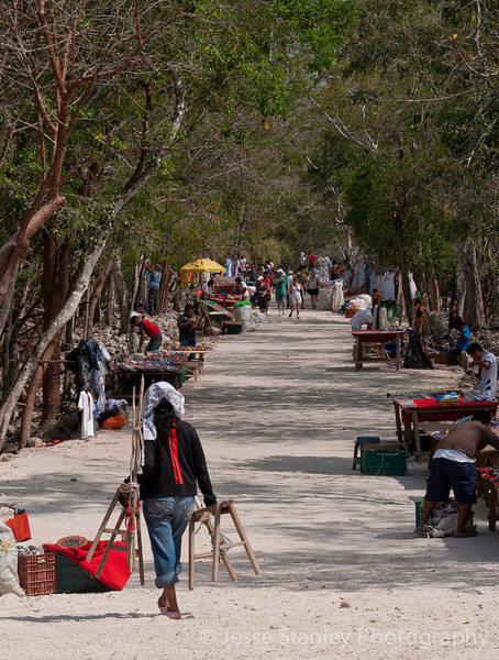 Vendors line Sacbe Number One, which leads to Sacred Cenote, Chichen Itza