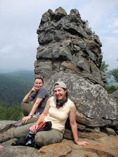 Up top, Bev and her friend Linda (visiting for the day) with Chimney rock behind, them.