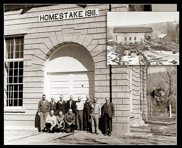 """A group of Homestake Gold Mining officials assembled in front of Hydroelectric Plant No. 1 in Spearfish on April 11, 1952 for this photograph.  Assembled were (kneeling):  G.R. Harris, N.G. Jerde, C.L. Gust; (standing): Bennie Carlson, Emil Hermanson, Robert Parker, George Gibson, Fred Langhoff, Ole Swanson, Rex Tario, and U. E. Danielson.  Inset is a photo of the plant under construction in 1911.  By 1952 th plant """"generates 33,000 volts, carrying electricity to the Spearfish Sawmill and to the Kirk Power Plan near Lead for distribution to other operations.""""   Thanks to the City of Spearfish Power Plant staff for sharing this photo."""