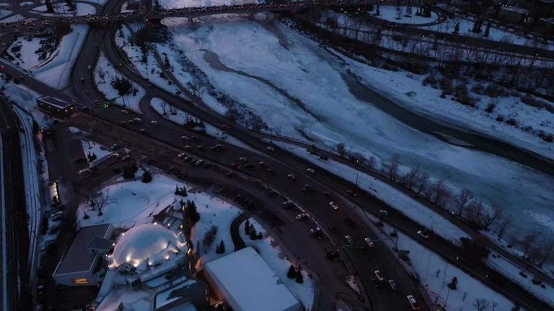 Calgary Downtown Aerial Dusk
