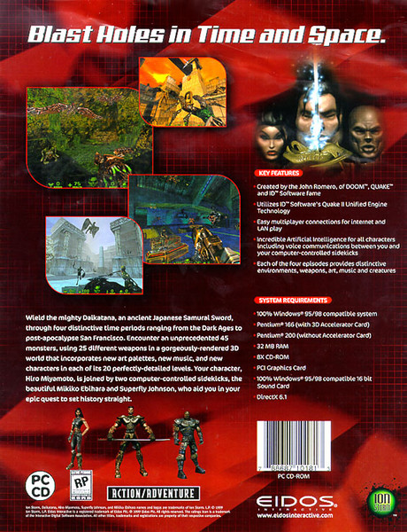 Daikatana sell sheet that Eidos used to show buyers at large retailers.