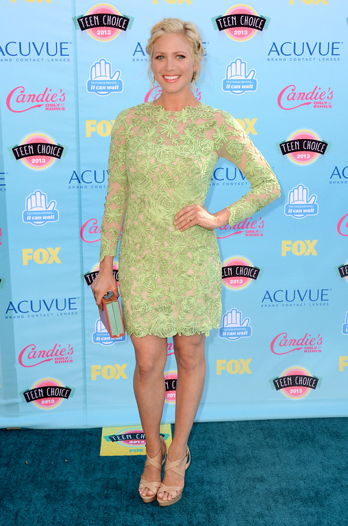 . Brittany Snow arrives at the Teen Choice Awards at the Gibson Amphitheater on Sunday, Aug. 11, 2013, in Los Angeles. (Photo by Jordan Strauss/Invision/AP)