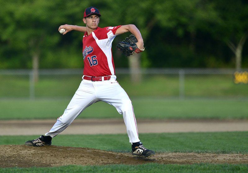 7/31/2019 Mike Orazzi | Staff Southington's Ryan Henderson (16) during Tuesday evenings American Legion Baseball game with Waterford in South Windsor.