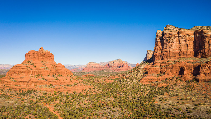 Aerial panorama of Courthouse Butte in Sedona, Arizona