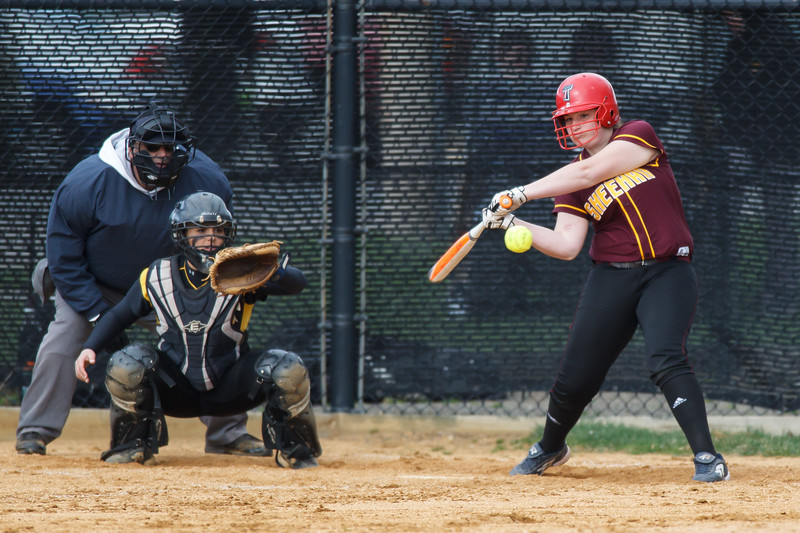 Sheehan's Carolyn Biel (31) takes a swing at a pitch Thursday at Amity Regional High School in Woodbridge Apr. 23, 2015 | Justin Weekes / For the Record-Journal