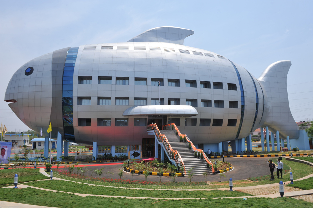 . A general view shows the newly opened National Fisheries Development Board (NFDB) building, designed to resemble a fish, in Hyderabad on April 20, 2012. The National Fisheries Development Board (NFDB) functions as a coordinating mechanism between different fishery agencies and a platform for partnerships. AFP  PHOTO/Noah SEELAM