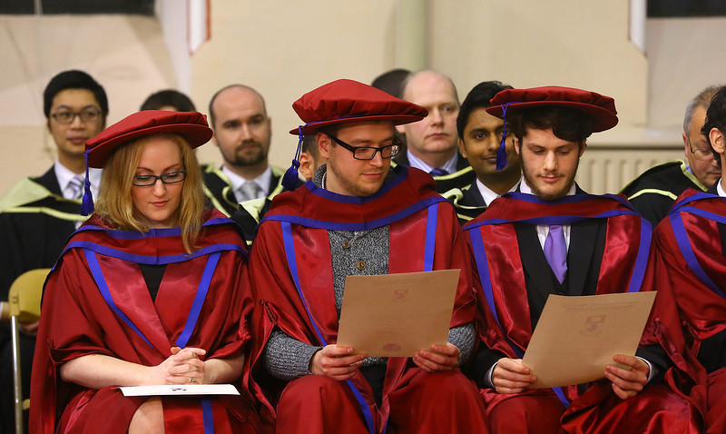 Waterford Institute Of Technology Conferring. Pictured at WIT Waterford Institute Of Technology Conferring are Rosanne Birney, Stepan Ivanov, Russia, Julien Mineraud, France who were conferred a Doctor of Philosophy. Picture: Patrick Browne