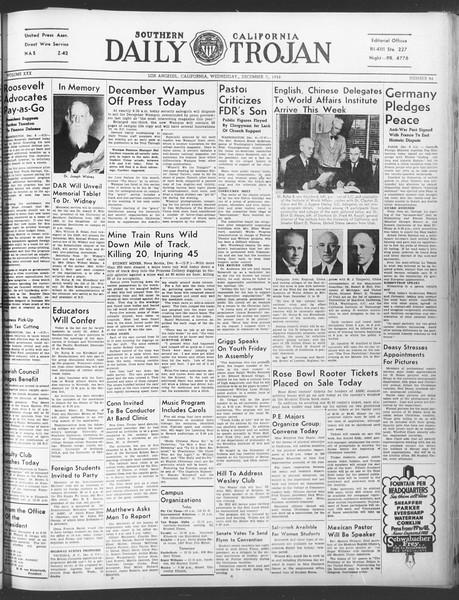 Daily Trojan, Vol. 30, No. 55, December 07, 1938