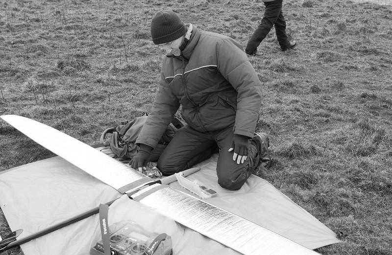 Nigel Witchalls prepares his model