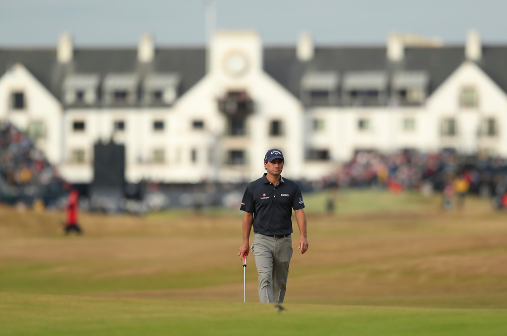 . Kevin Kisner of the US walks along the 17th fairway during the third round of the British Open Golf Championship in Carnoustie, Scotland, Saturday July 21, 2018. (AP Photo/Jon Super)