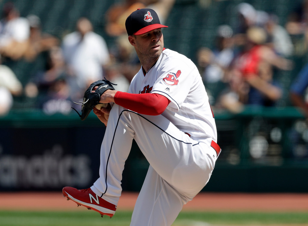 . Cleveland Indians starting pitcher Corey Kluber delivers in the first inning of a baseball game against the Kansas City Royals, Wednesday, Sept. 5, 2018, in Cleveland. (AP Photo/Tony Dejak)