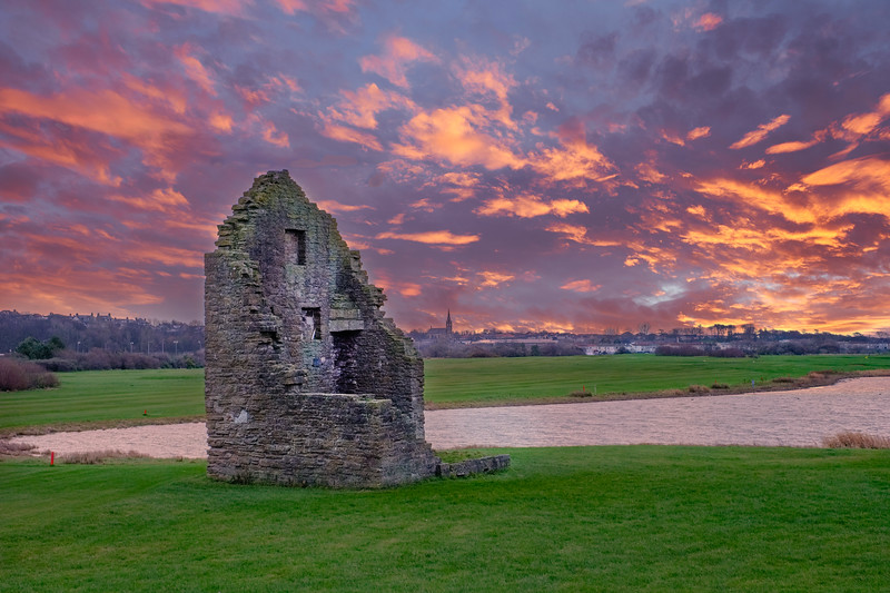 The Old Engine House that Served the Auchenharvie Colliery in Stevenston North Ayshire Scotland at Sunset.