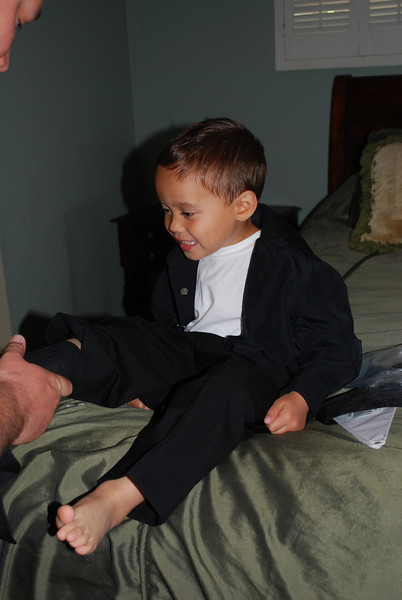 Ring Bearer Getting Ready for Auntie Tessa's Wedding