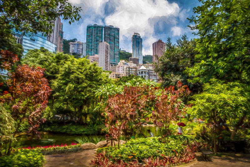 Picturesque Hong Kong Park.