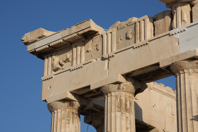 Classic, Doric style of the Parthenon. Athens, Greece