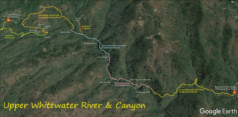 Upper Whitewater River Hike Route Map