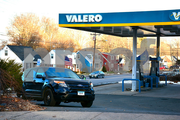 12/20/2017 Mike Orazzi | Staff Bristol Police on scene after a robbery at the Valero Gas station on Pine Street near the Plainville town line in Bristol Wednesday afternoon.
