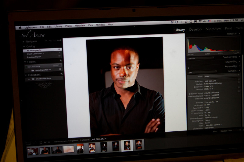 Syl used Lightroom to present images and camera data during the demonstration