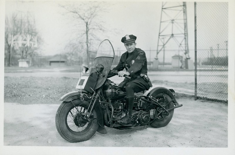 Ed Gerdt on 1st radio equipped motorcycle