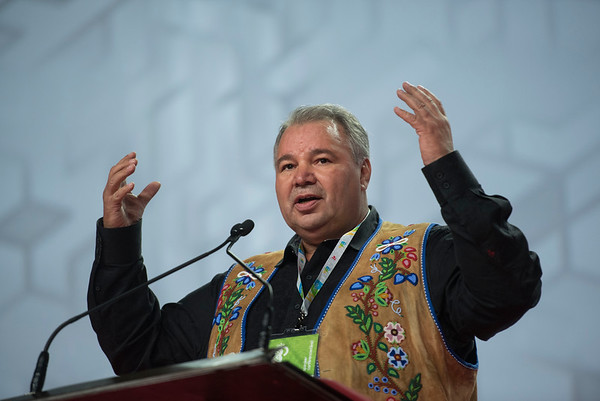 DAVID LIPNOWSKI / WINNIPEG FREE PRESS  President of the Manitoba Métis Federation David Chartrand, during the opening of the 2016 Liberal Biennial Convention at RBC Convention Centre Thursday May 25, 2016.
