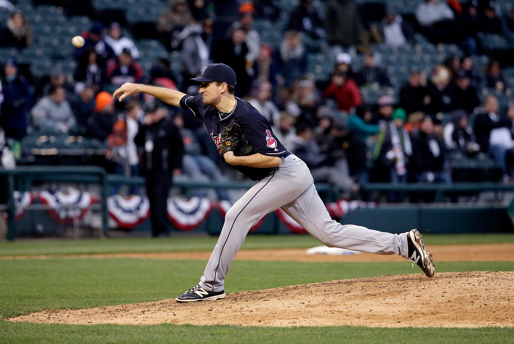 . Cleveland Indians relief pitcher Dan Otero throws against the Chicago White Sox during the ninth inning of a baseball game Friday, April 8, 2016, in Chicago. The Indians won 7-1. (AP Photo/Nam Y. Huh)