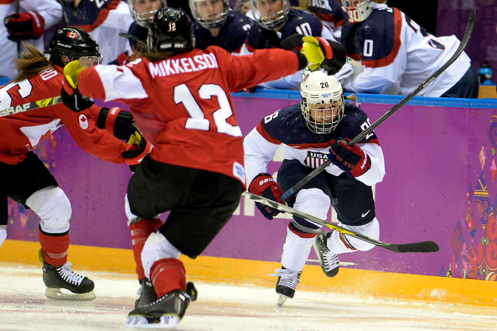 . Kendall Coyne (26) of the U.S.A. skates against Canada during the first period of the women\'s gold medal ice hockey game. Sochi 2014 Winter Olympics on Thursday, February 20, 2014 at Bolshoy Ice Arena. (Photo by AAron Ontiveroz/ The Denver Post)