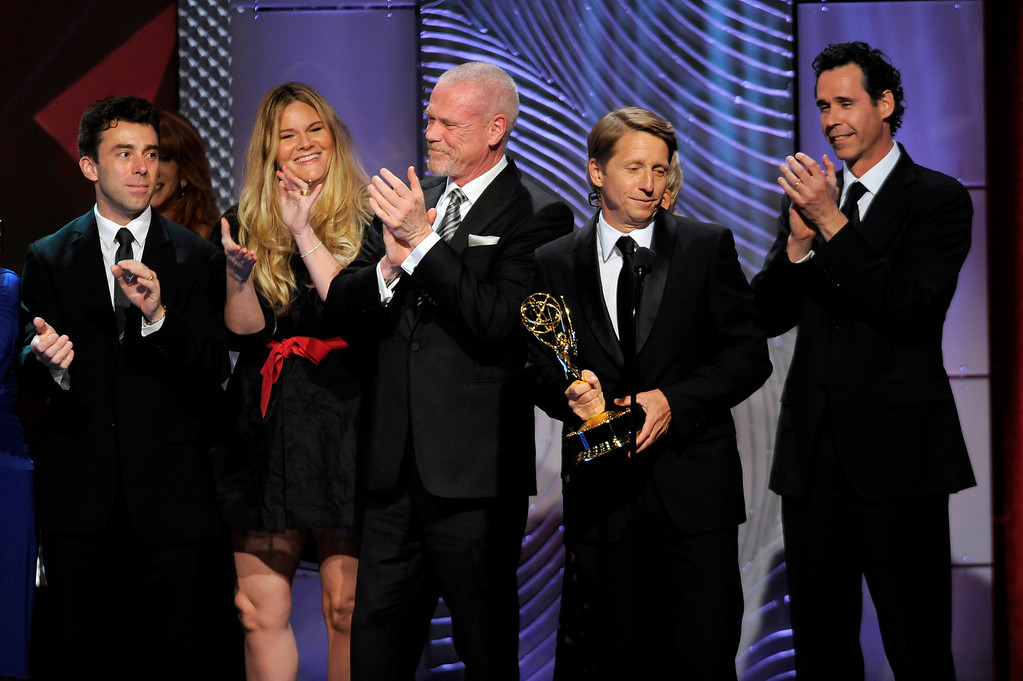 """. The cast and crew of \""""The Bold and the Beautiful\"""" accept the award for outstanding drama series writing team at the 40th Annual Daytime Emmy Awards on Sunday, June 16, 2013, in Beverly Hills, Calif. (Photo by Chris Pizzello/Invision/AP)"""