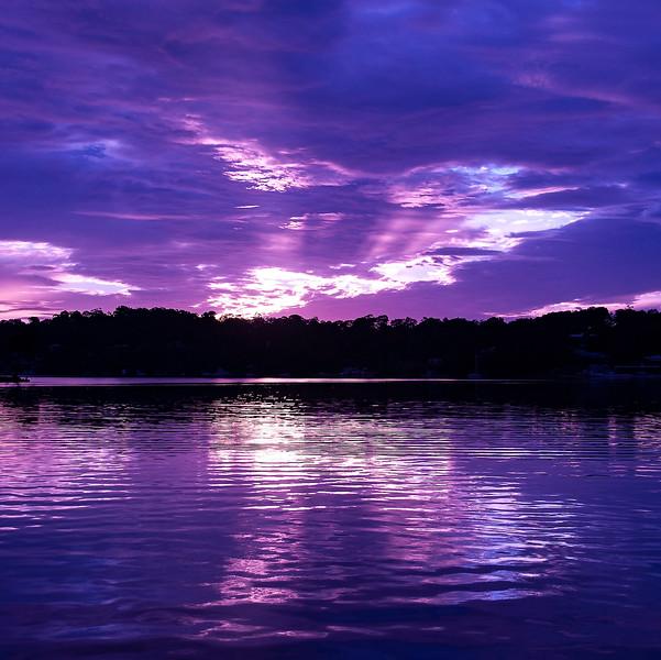 Vivid mauve cloudy Sunrise Seascape Australia