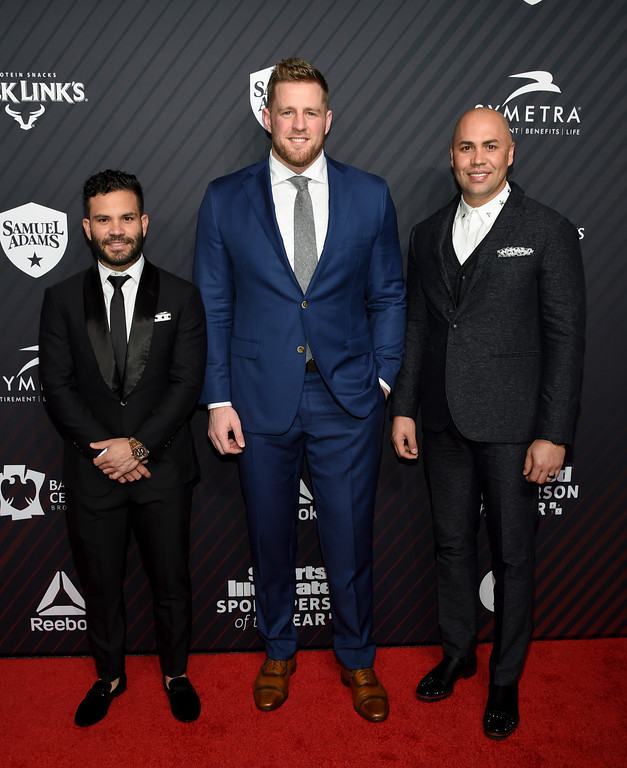 . Sportsperson of the Year co-honorees Jose Altuve, left, and J.J. Watt and Hope Award recipient Carlos Beltran pose before the Sports Illustrated 2017 Sportsperson of the Year Awards at Barclays Center on Tuesday, Dec. 5, 2017, in New York. (Photo by Evan Agostini/Invision/AP)