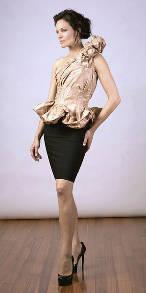 Silk taffeta top with Italian stretch-wool skirt.