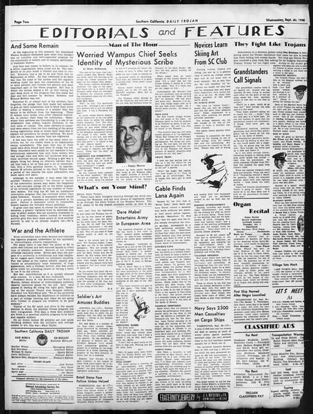 Daily Trojan, Vol. 34, No. 9, September 30, 1942