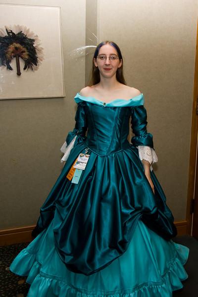 Tashari wearing her dress, which later won several awards.