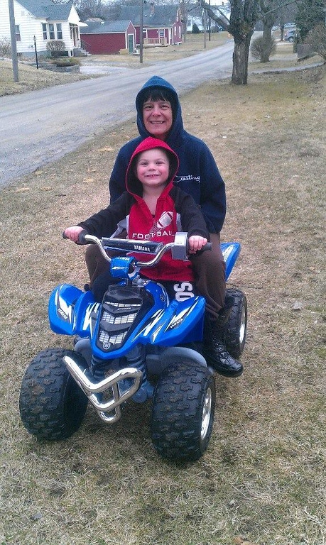 ". Tyler Ireland gives his grandmother Melissa Ireland a ride on his four-wheeler. Tyler\'s mom Becca Loria writes in an email, ""She is a major part of Tyler\'s life and has always been there for any support or assistance.\"" Photo submitted by Becca Loria"