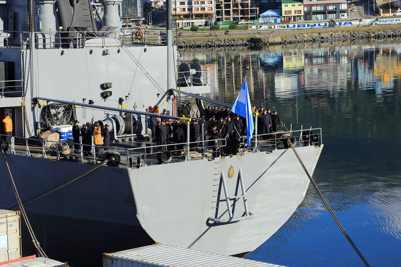 Argentine Navy ship, Ushuaia, morning assembly for raising the flag.