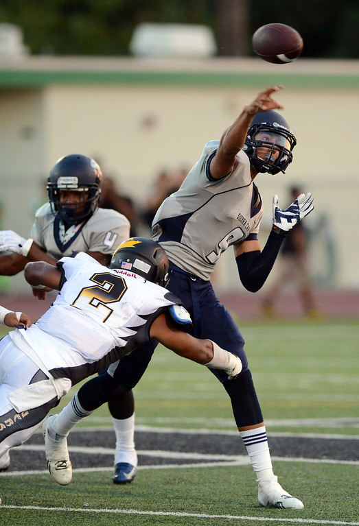 . Sierra Canyon\'s Andre Nunez #9 passes the ball during their game against San Fernando at Granada Hills High School in Granada Hills Friday, August 30, 2013. (Hans Gutknecht/Los Angeles Daily News)