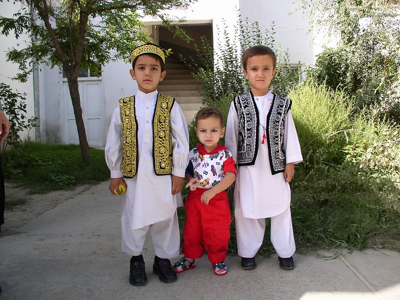 The Afghani children in their traditional attire.