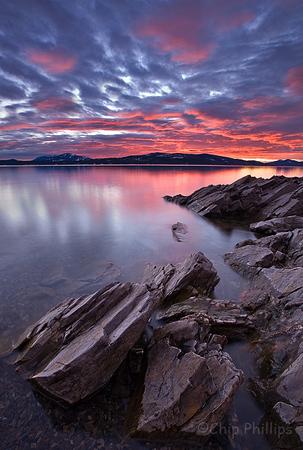 """Lake Pend Oreille, Hope, Idaho""  A February sunset over Lake Pend Oreille, in northern Idaho."