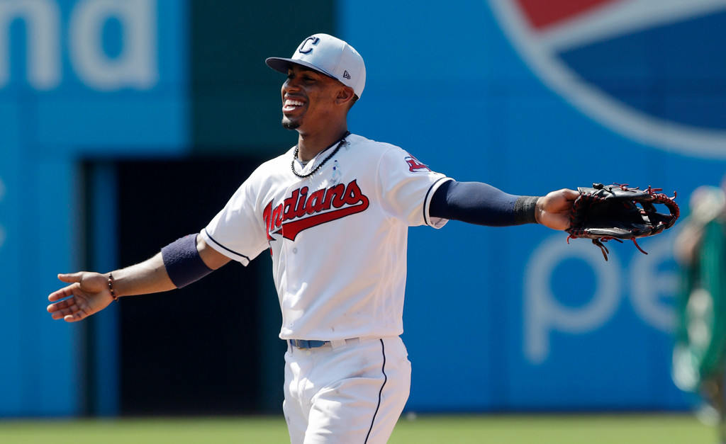 . Cleveland Indians\' Francisco Lindor smiles after the Indians defeated the Minnesota Twins 4-1 in a baseball game, Sunday, June 17, 2018, in Cleveland. (AP Photo/Tony Dejak)