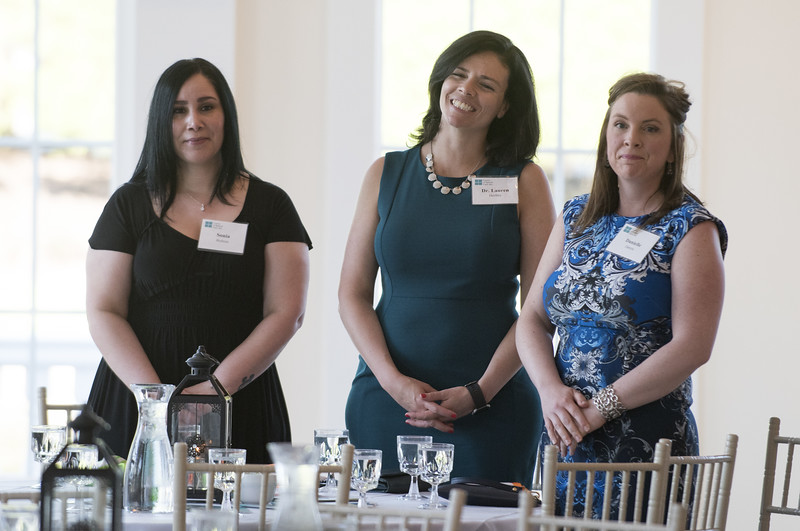 06/12/19  Wesley Bunnell | Staff  Sonia Boltrun, Dr. Lauren Hurlihy, and Danielle Zareck, stand during a speech by Lynn Ricci, FACHE President and CEO at the Center of Special Care meeting on June 12, 2019 at the Aqua Turf in Southington.