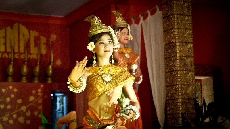 The beautiful Apsara dancers at a show in Siem Reap, Cambodia.